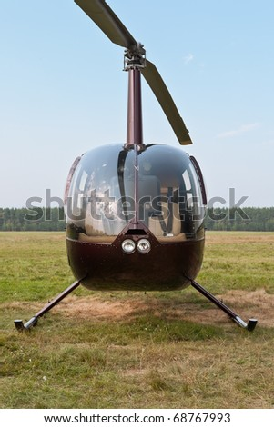 Front view of small light helicopter - stock photo
