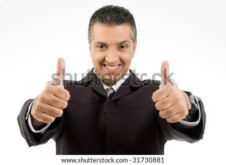 front view of smiling boss showing thumb up with both hands on an isolated background - stock photo