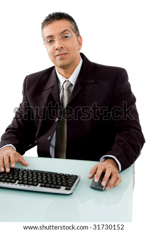 front view of smiling businessman looking at camera on white background - stock photo