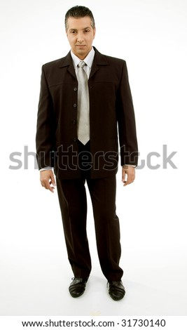 front view of standing adult boss looking at camera with white background - stock photo