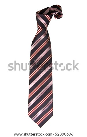 front view of stripes tie on white background - stock photo