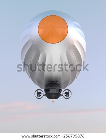 Front view of stylish airship flying in the sky - stock photo