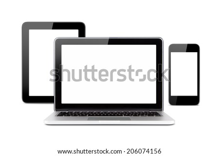 Front view of technology devices, tablet, laptop and smart phone with blank, empty screens, isolated on white background. - stock photo