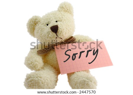 "Front view of teddy bear toy with ""Sorry"" note, isolated on white background"