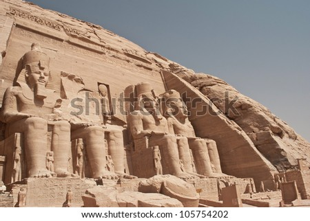 Front view of Temple of King Ramses II in Abu Simbel, Egypt - stock photo