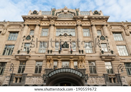 Front view of the building of Liszt Academy of Music - stock photo