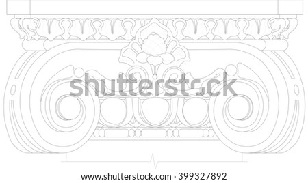 front view of the classic Ionic capitals and currencies Ionica - stock photo