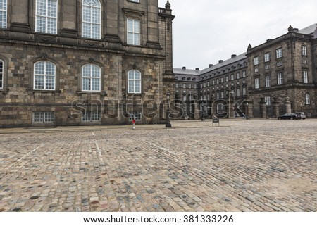 Front view of the main building and the Platz in front of Christiansborg Slot Palace in Copenhagen, Denmark