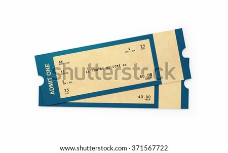 Front view of two general admission tickets. The tickets have a kraft paper like  look and a retro style.  Isolated on white background. Clipping path is included. - stock photo