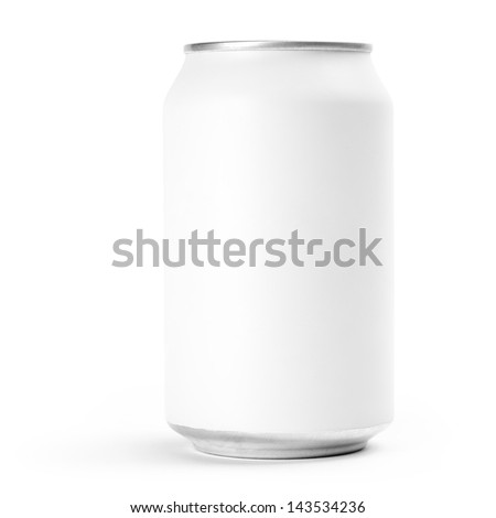 Front view of white aluminum can isolated on white background. Studio shot with clipping path. - stock photo