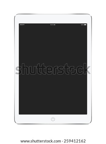 Front view of white tablet computer with blank screen mockup isolated on white background. - stock photo