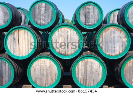 Front view of wine barrels on madeira wine-yard - stock photo