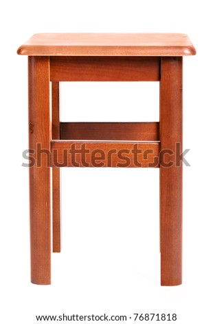 Front view of wooden stool isolated on white - stock photo