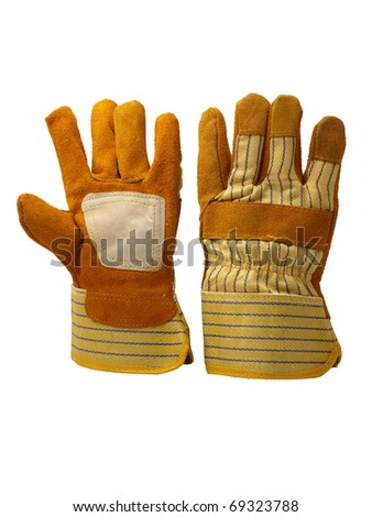 front view of work gloves  on pure white background - stock photo