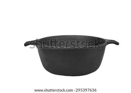 Front View On The Opened Clean Empty Cast Iron Pan Isolated On White Background Close-up - stock photo