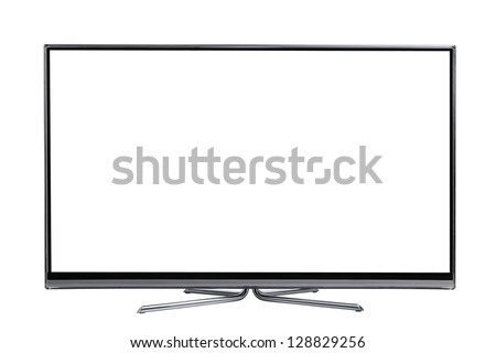 front view plasma wide screen led lcd tv monitor isolated on white - stock photo