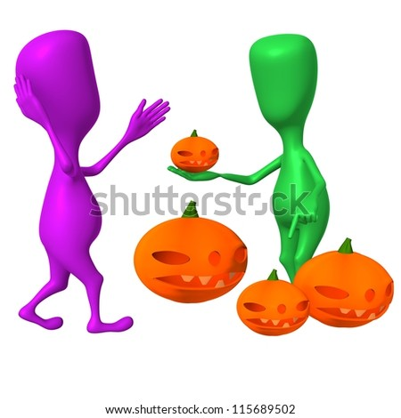 Front view puppy offer pupkins to confused consumer - stock photo