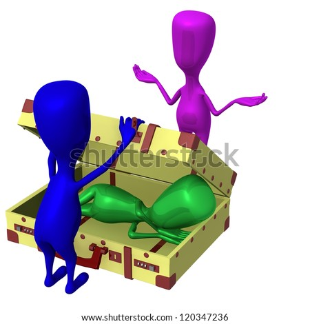 Front view sleeping puppet found in big suitcase - stock photo