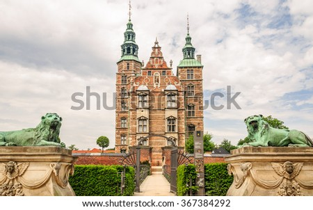 Front view to the main entrance to the Rosenborg Castle (build by King Christian IV), Copenhagen, Denmark - stock photo