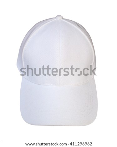 Front view white baseball cap isolated on white background. - stock photo
