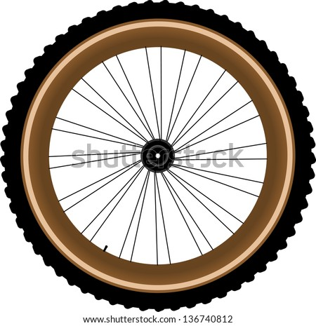 Front wheel of a mountain bike isolated on white background, raster