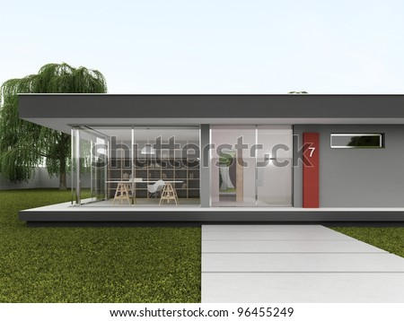 Front yard of very modern house - bungalow design, architecture project - stock photo