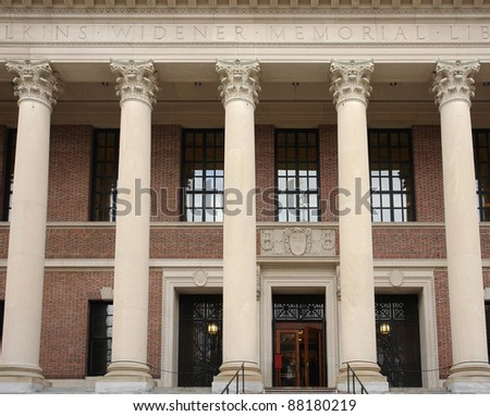 "frontal detail of the the ""Widener Library"" at Harvard Yard in Cambridge (Massachusetts, USA) - stock photo"