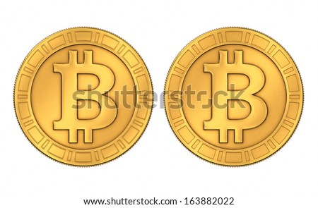 Frontal view of an engraved and a paneled style 3D rendered golden Bitcoins, isolated on white background - stock photo
