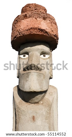 Frontal view of Easter Island Monolith. With white background and clipping mask. - stock photo