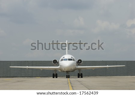 Frontal view of Fokker Friendship F-28 ready to take off in Kuala Lumpur, Malaysia.