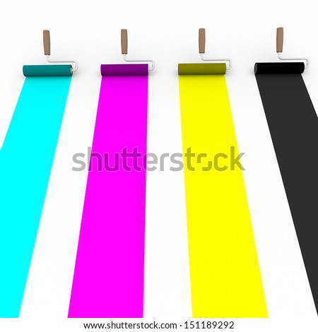 Frontal view of four paint rollers with cmyk colors. Graphic arts and prepress concept - stock photo