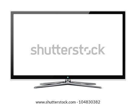 Frontal view of modern widescreen led or lcd monitor isolated on white - stock photo