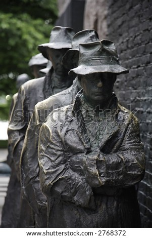 Frontal view of the Bread Line sculpture at the Franklin D. Roosevelt Memorial in Washington, D.C. - stock photo