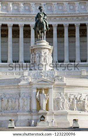 Frontal view of the monument to Vittorio Emanuele di Savoia, Piazza Venezia in Rome, Italy - stock photo