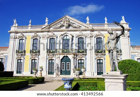 Frontal view of the Queluz Palace, Lisbon, Portugal. - stock photo