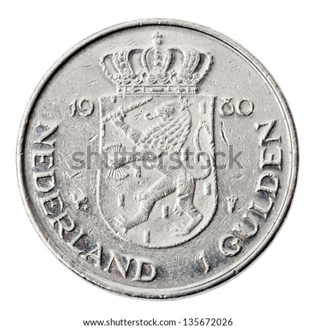 Frontal view of the reverse (tails) side of a a Dutch 1 Gulden (fl) coin minted in 1980. Depicted is Netherland's coat of arms, the coin's denomination, country and year. Isolated on white background. - stock photo