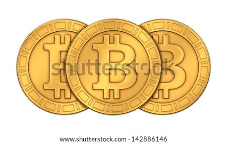 Frontal view of three 3D rendered engraved golden Bitcoins isolated on white background - stock photo