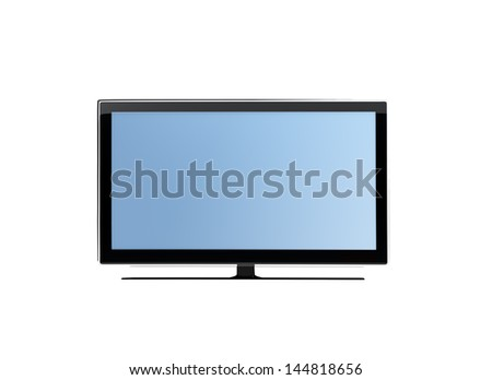 frontal view of widescreen lcd tv or  monitor isolated on white - stock photo