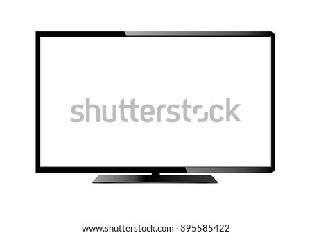 Frontal view of widescreen tv monitor - stock photo