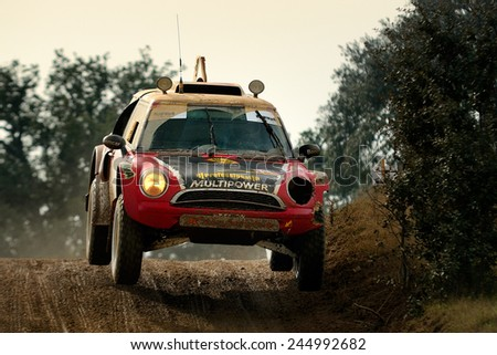 FRONTEIRA, PORTUGAL - NOV 30 : Portuguese team in a Mini Off Road races in the 17th 24H TT Vila de Fronteira Edition, on Nov 30, 2014 in Fronteira, Portugal. - stock photo
