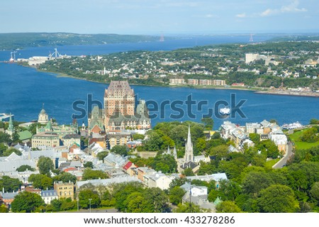Frontenac castle and othe buildings in Quebec