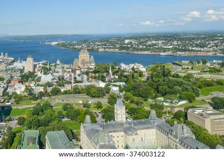 Frontenac castle in Quebec - stock photo
