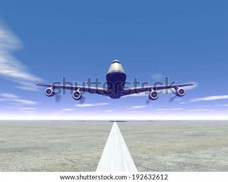 Frontview of a airplane landing on the ground by day