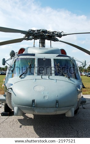 Frontview of Sikorsky SH-60 Seahawk navy helicopter - stock photo