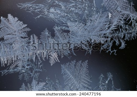 Frost making beautiful shapes on a window - stock photo