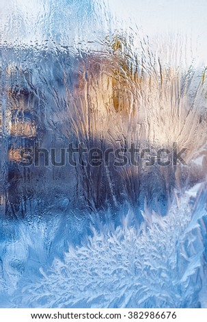 Frost pattern on glass spring