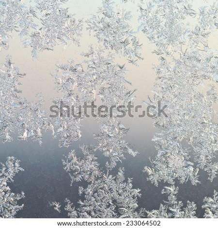 frost patterns on window glass close up at cold winter sunrise - stock photo