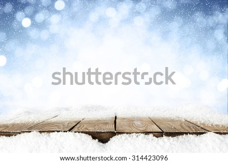 frost snow and desk space  - stock photo