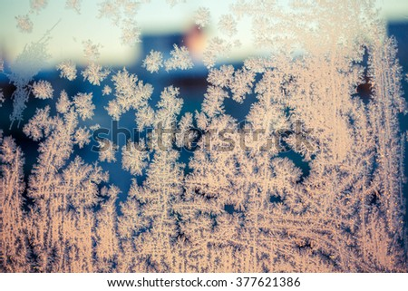 frost snowflakes on winter window - stock photo