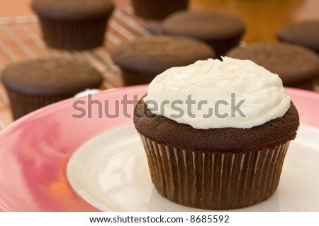 frosted cupcake - stock photo